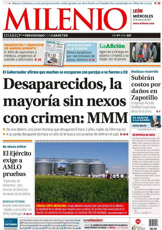 """En marzo de 2017, el entonces gobernador Miguel Márquez atribuyó los casos de personas desaparecidas a jóvenes que se """"fugaron"""" con el novio o a migrantes que decidían hacer su vida en Estados Unidos."""