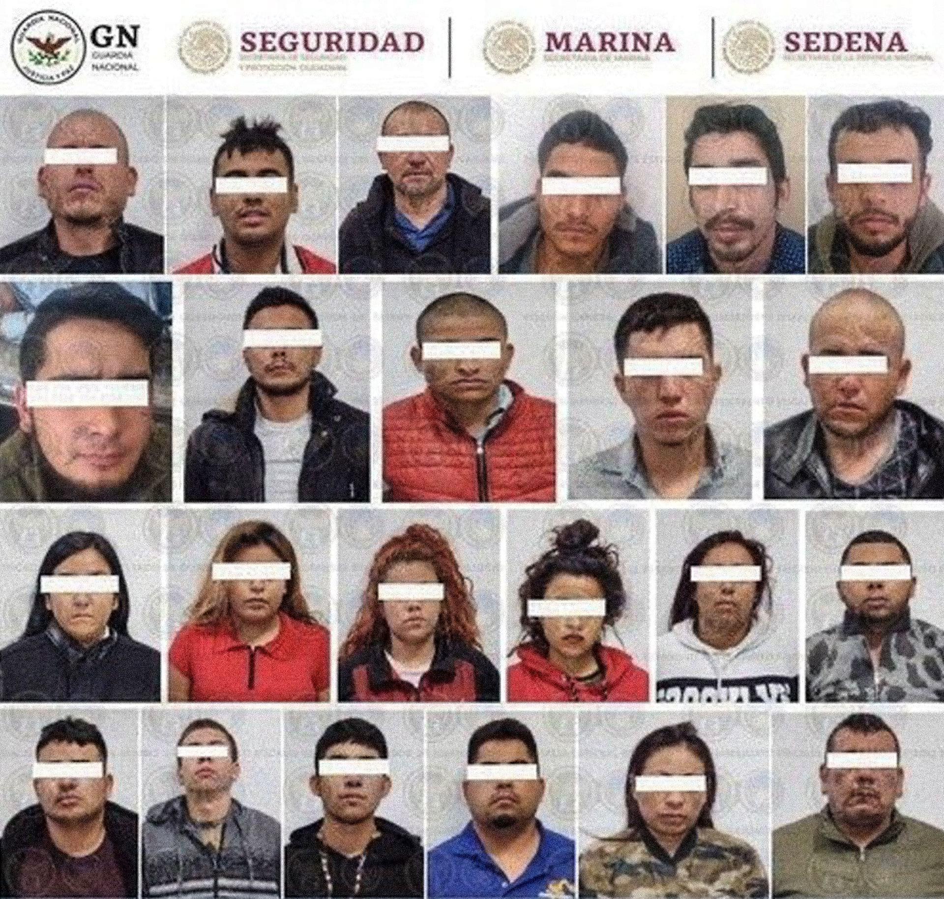 Integrantes del CJNG que conformaban la jefatura de plaza de dicho cártel en Silao, detenidos en un operativo conjunto de fuerzas estatales y federales. Foto distribuida por la Guardia Nacional.