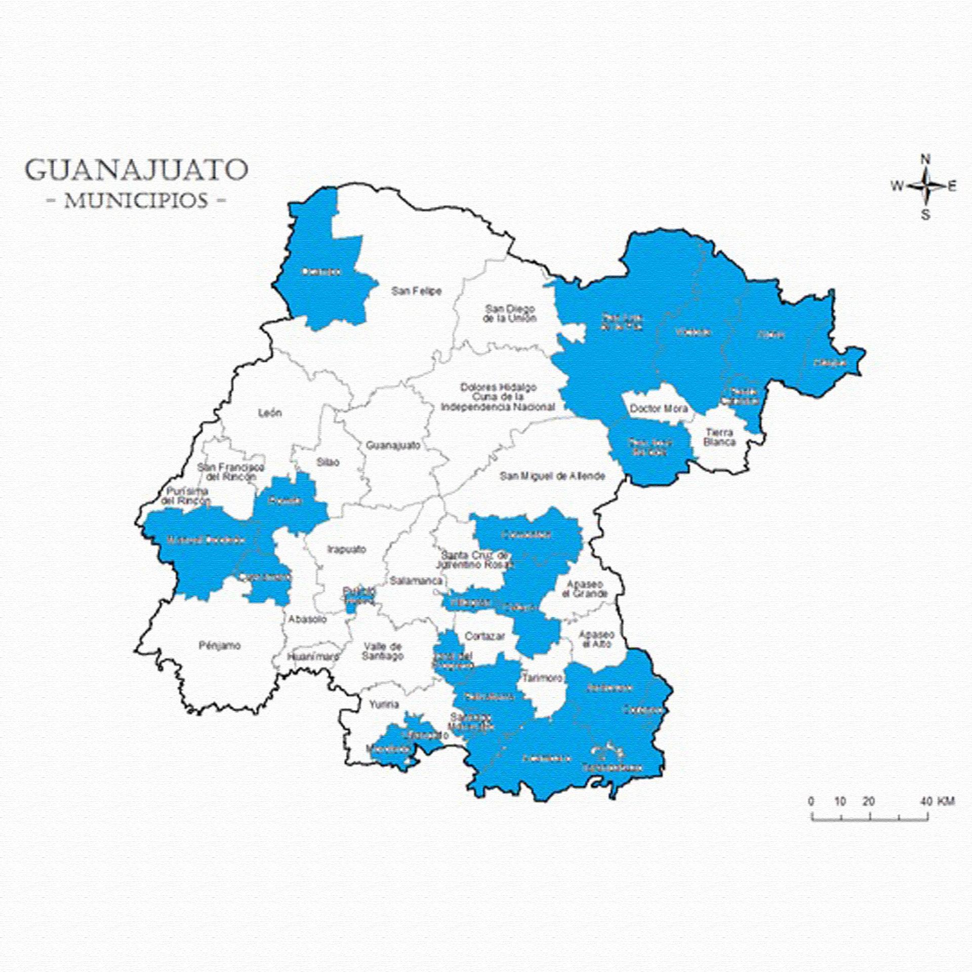 Municipios en los que el PAN postuló mujeres como candidatas a presidentas municipales en las elecciones de 2018. Fueron postuladas de manera preferente en el noreste y sureste del estado.