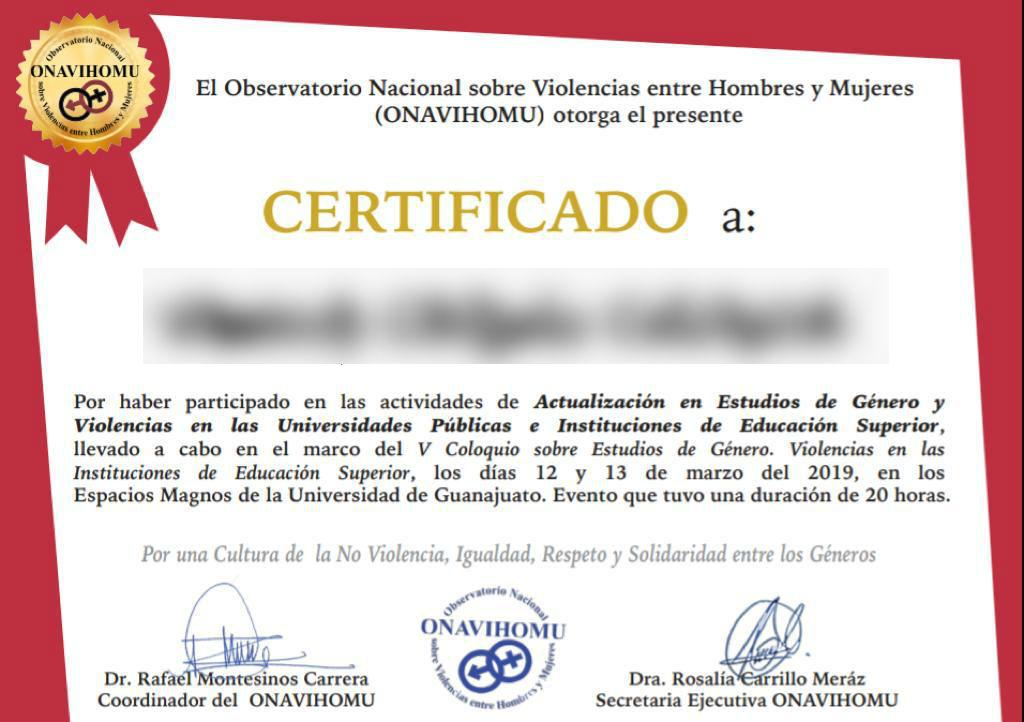 El certificado que entrega el ONAVIHOMU, del que Carrillo Meraz es secretaria ejecutiva. Foto: especial